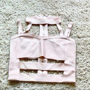 Bebe Ballet Pink Bandage Halter Crop Top Small